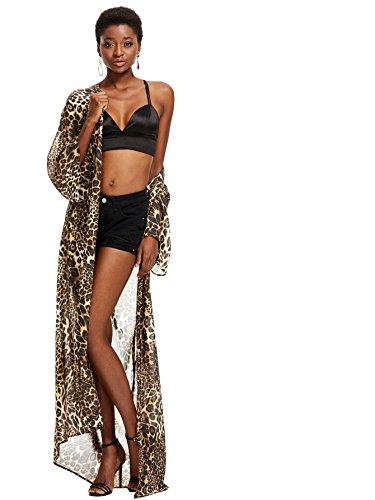 SweatyRocks Women's Flowy Kimono Cardigan Open Front Maxi Dress Leopard S