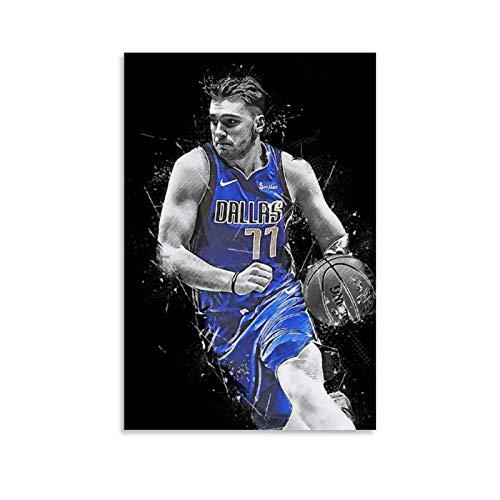 GSSL Póster deportivo de baloncesto Luka Doncic Lienzo artístico y arte de pared impreso moderno para decoración de dormitorio familiar 60 x 90 cm