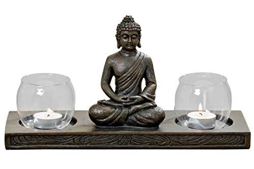 Stöberdeel Buddha Figur auf Podest mit 2 Windlichtern