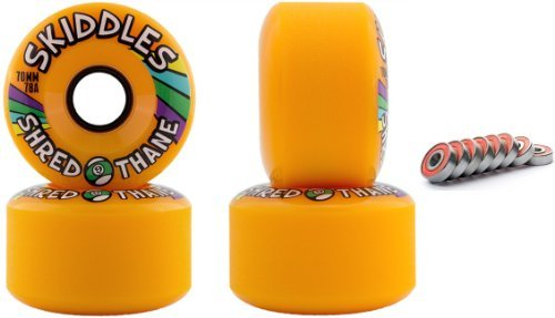 Sector 9 Skiddles Orange 70MM 78A Longboard Slide Wheels Set of 4 With Bearings by Sector 9