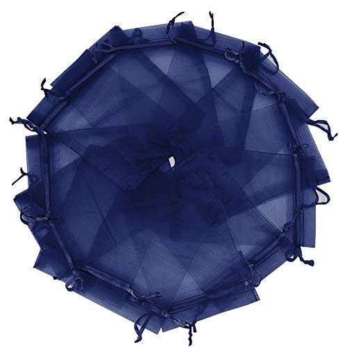 Wudygirl 100PCS Organza Bags 5X7 inch Navy Blue with Drawstring Jewelry Pouch Favor Wedding Gift Bags(Navy Blue 5x7)