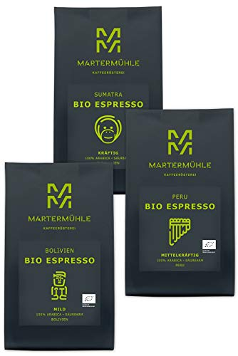 Martermühle | Bio Espresso Probierset (3 x 250g) | Ganze Bohnen | Premium Espressobohnen aus Bolivien, Peru, Sumatra | Schonend geröstet | Espresso säurearm | 100% Arabica