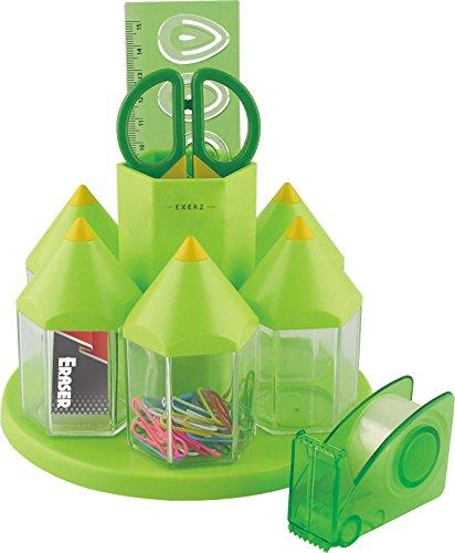 Exerz EX058 O-Life Tisch-Organizer/ Drehbares Ablagesystem Stiftehalterset mit 5 Zubehörbehältnissen - Mehrfarbig - gefüllt mit Sicherheitsschere (NICHT scharf), Lineal, Klebebandabroller Radiergummi, Büroklammern (Grün)