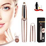 Eyebrow Hair Remover, SiKii Painless-Precision Eyebrow Trimmer Brows Epilator Eye Brow Facial Face Razor for Face Lips Nose Facial Hair Removal with LED Light for Women Men (Rose Gold)