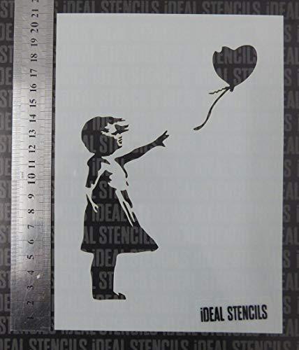 Banksy Schablone für Mädchen mit Luftballon – ***Verkauf*** / A5 Seitengröße/Bastelgröße Schablone für jede Oberfläche/wiederverwendbar/waschbarer Kunststoff