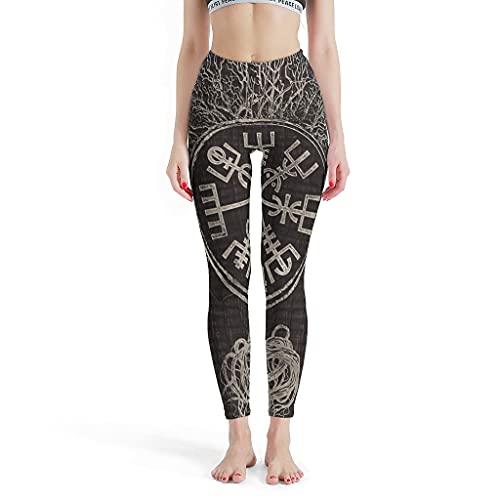 Josephion Leggings Vegvisir y árbol de la vida para mujer, pantalones de yoga para fitness blanco l