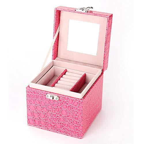 Lwieui Caja de Almacenamiento de la joyería Gran Caja de Joyas Embellecer Estuche de cosméticos Estuche de Almacenamiento de joyero de Cuero Caja (Color : Marrón, Size : Free Size)