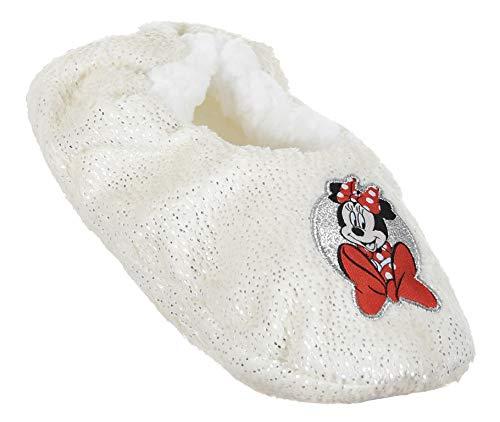 Disney Minnie Mouse Hausschuhe für Mädchen, glänzendes Sherpa-Fleece, warmes und...