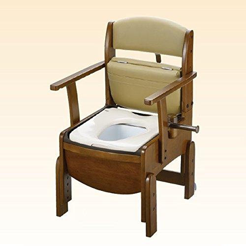 リッチェル 木製トイレ きらく コンパクト 固定式肘掛けタイプ 暖房便座