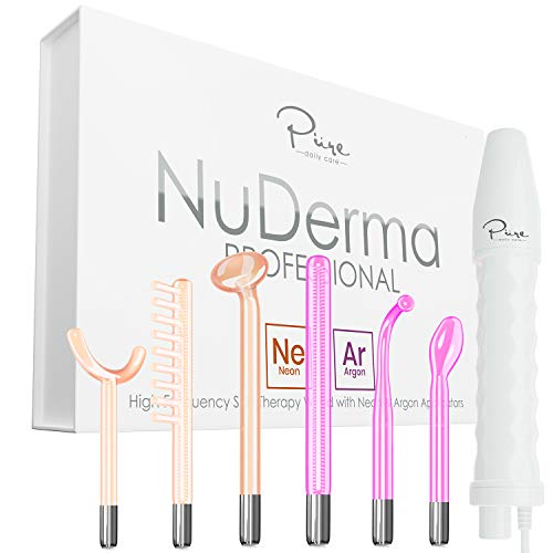 NuDerma Professional Skin Therapy Wand - Portable Handheld High Frequency Skin Therapy Machine with 6 Neon & Argon Wands - Acne Treatment - Skin Tightening - Wrinkle Reducing  Facial Skin Lifter