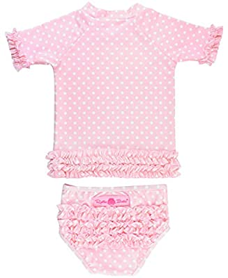 RuffleButts Girls Rash Guard 2-Piece Swimsuit Set - Pink Polka Dot Bikini with UPF 50+ Sun Protection - 8