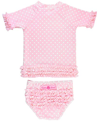 RuffleButts Baby/Toddler Girls Rash Guard 2-Piece Swimsuit Set - Pink Polka Dot Bikini with UPF 50+ Sun Protection - 12-18m