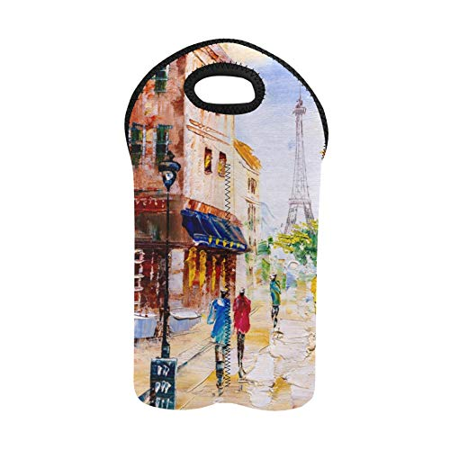 Wine Carrying Bag Colorful Art City Landscape Oil Painting Wine Tote Bags Double Bottle Carrier Holiday Wine Bags Thick Neoprene Wine Bottle Holder Keeps Bottles Protected