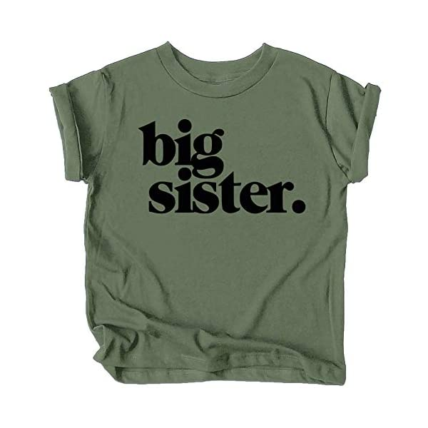 Bold Big Sister Colorful Sibling Reveal Announcement T-Shirt for Baby and Toddler Girls Sibling Outfits Military Green Shirt Youth Medium