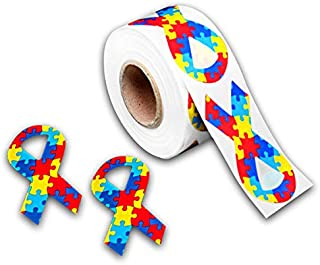 250 Autism Awareness Ribbon Stickers (250 Stickers)
