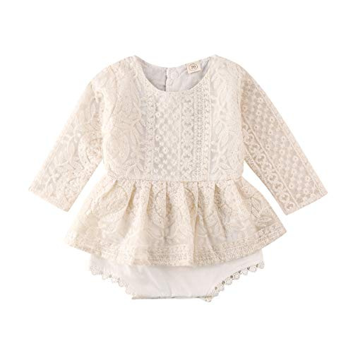 Newborn Baby Girl Romper White Long Sleeves/Ruffle Sleeveless Lace Floral Tutu Dress Bodysuit Outfits, Beige, 6-12 Months