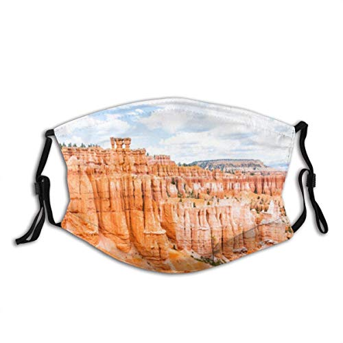 Aerial View of hoodoos Orange Rock Formations at Bryce Canyon National Park in Utah,Half Face Mouth Cover Anti Dusts Cotton Windproof Reusable Balaclava for Women Men