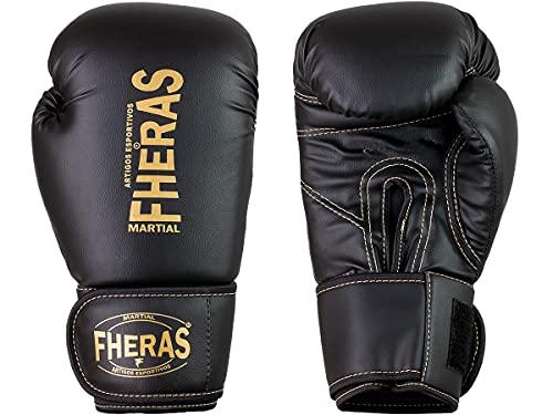 Luva de Boxe Muay Thai MMA Pro Black Golden Fheras 12Oz
