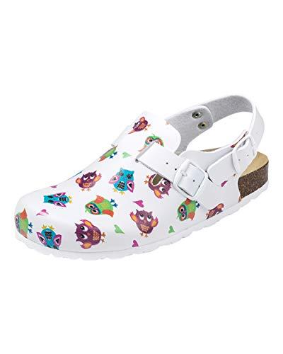 CLINIC DRESS Clog - Clogs Damen bunt weiß Motiv. Schuhe für Krankenschwestern, Ärzte oder Pflegekräfte bunt, Eule 38