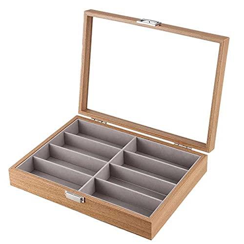 Caja de almacenamiento de gafas de sol de 8 ranuras, vitrina de madera para gafas, organizador de almacenamiento, gafas de exhibición, colección de soporte de joyería