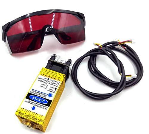 Módulo de control láser 15W 450nm TTL PWM, cabezal láser de enfoque ajustable DC 12V, módulo de grabado de cabeza láser + gafas protectoras para máquina de grabado láser DIY