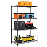 "4-TierWireShelvingUnit Steel Large Metal Shelf Organizer Garage Storage Shelves Heavy Duty NSF Certified Height Adjustable Commercial Grade Metal Rack 4000 LBS Capacity 24""D x 48""W x 72""H,Black"
