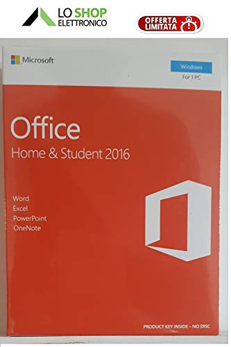 Office 2016 Home & Student - Box Sigillato + Key Card - Licenza a Vita - Attivazione Online - Fatturabile -
