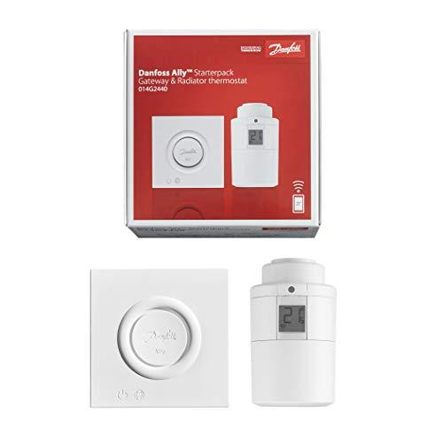 Danfoss Ally Starter-Set - Heizkörperthermostat & Gateway - Präzises, smartes Digital-Thermostat, kompatibel mit Amazon Alexa, Google Assistant & Zigbee - App- & Sprachsteuerung - Smarthome-Geräte