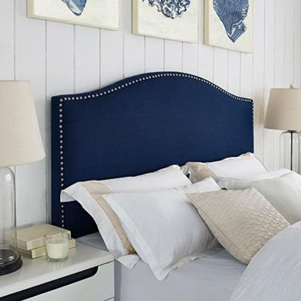 Faux Linen Antique Nailhead Headboard Navy Blue Full Queen