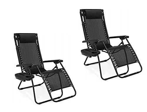 ADGO Tumbonas Gravity 3 Niveles Playa jardín sillón Plegable Cama Fuerte Acero Inoxidable Negro, 2 Piezas