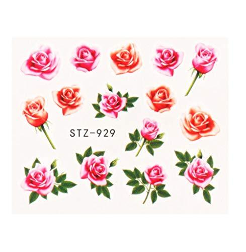 JSIYU Stickers Ongle Série de Fleurs Nail Water Decal Sticker Floral Sakura Daisy Rose Leaf Transfer Slider Foil Nail Decoration D-Y02