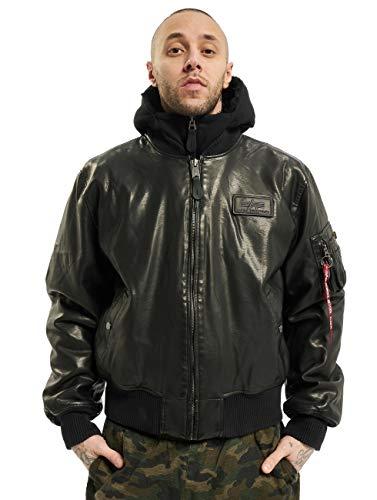 ALPHA INDUSTRIES Herren Lederjacken MA-1 D-Tec FL Leather schwarz M