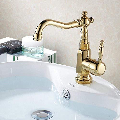 LHQ-HQ Color oro latón cubierta montaje baño grifo vanidad recipiente fregadero mezclador agua fría y caliente grifo@latón