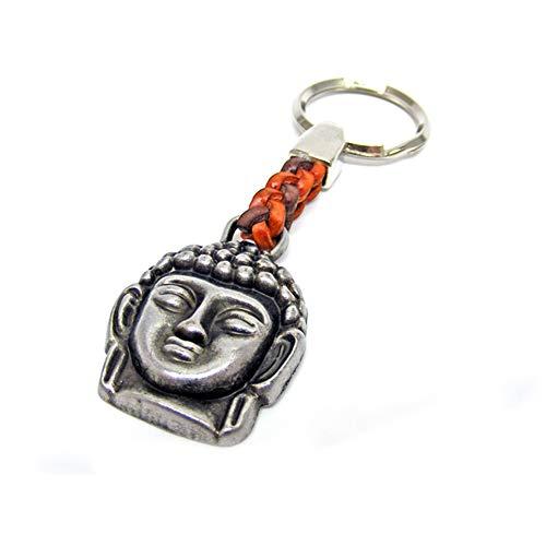 Schlüsselanhänger Schlüsselring Buddha an Lederband - EIN besonderes Schmuckstück, das Kraft gibt. 7 cm Plus Ring 2,5cm