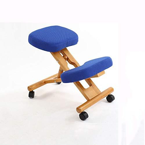 ZCJUX Silla ergonómica para arrodillarse con taburete con ruedas, muebles de soporte de postura de oficina de madera, silla ergonómica de madera, equilibrio corporal, dolor de espalda ( Color : A )