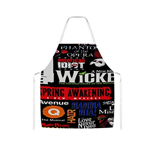Ives Jean Apron Bib Apron Waterproof Oil-proof Cooking Kitchen for Women Men Musical Collage Bib Apron for Barbecue