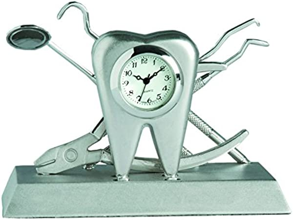 Sanis Enterprises Dentist Desk Clock 2 By 3 38 Inch Silver