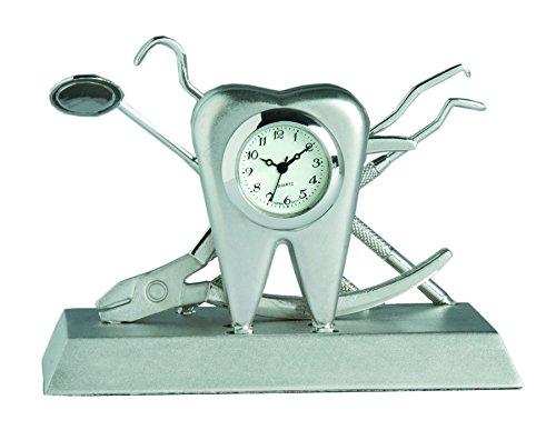 Sanis Enterprises Dentist Desk Clock, 2 by 3.38-Inch, Silver