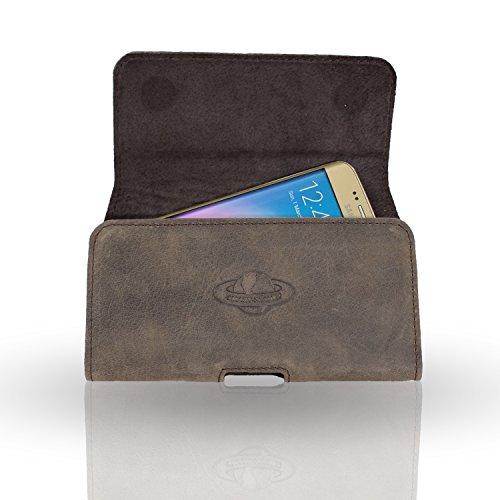 Smart-Planet® Hochwertige Smartphone Gürteltasche Echt Leder Quertasche 3 XL – Handy Tasche – Vintage Erscheinungsbild braun – 14,7 x 7,65 x 0,9 cm – Handyhülle