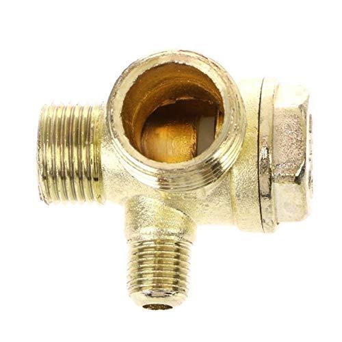 WSCHENG Rosca Macho 3 vías Metal Compresor de Aire Comprobar la válvula de Oro Tono L4MF