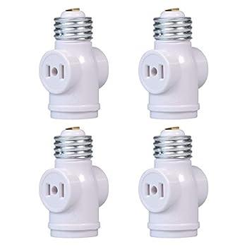 Comyan E26 to 2 Outlet Light Plug Socket Adapter,Polarized Handy Two Holes Splitter the US Standard Screw Light Holder Easy-to-Install 4 Pack White