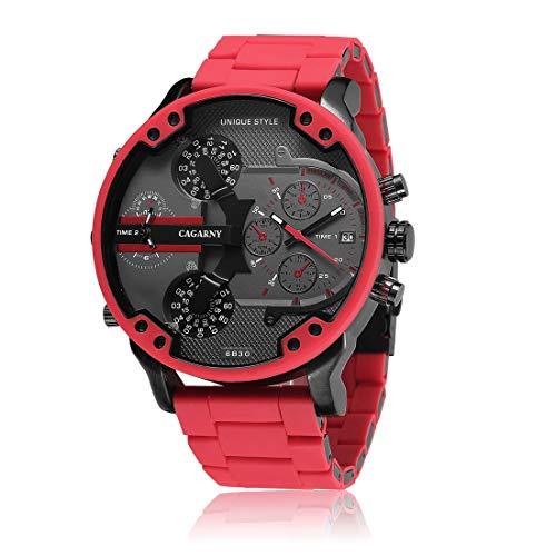 HWCOO Herren Quarzuhren Militäruhren Stahlgürteluhren Kalender Duale Zeitzone Uhren Rot(Color :Schwarz)