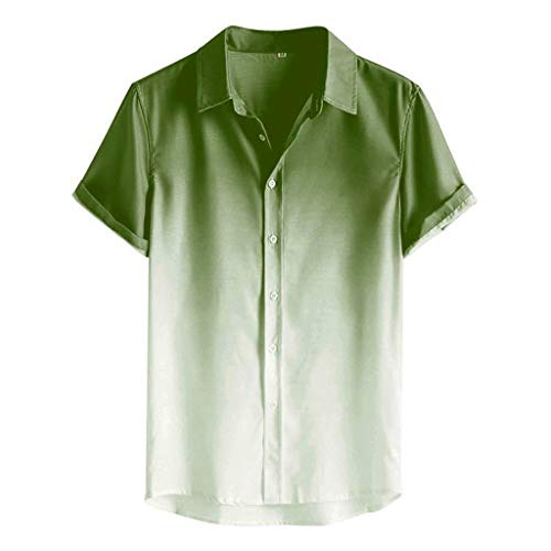 Ackful Men's Loose Blouse Breathable Short Sleeve Turn-Down Collar Gradient Shirt Green