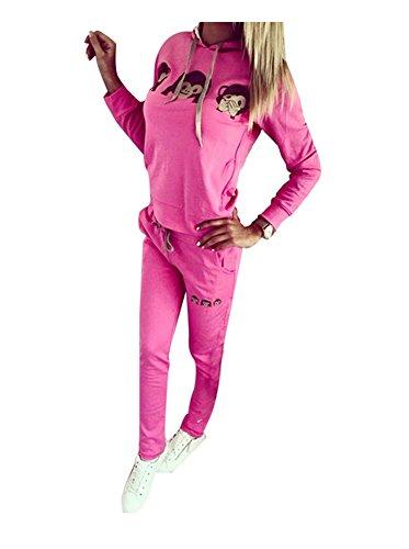 Baymate Damen Trainingsanzug AFFE Muster Drucken Hoodie Sweatshirt Anzug mit Hose 2pcs Rose XL