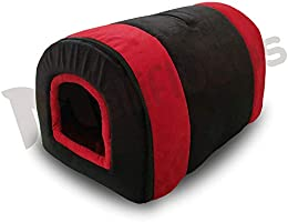 Mellifluous Dog and Cat Cave Shape Pet Bed, Brown-Orange