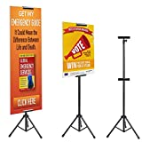 T-SIGN Double-Sided Tripod Poster Stand, Heavy Duty Sign Stand, Adjustable Floor Standing Sign, Height Up to 79.9 inches for Board Sign Holder Display (b)
