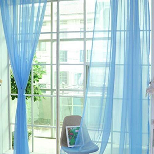 Greatangle Moda Semplice Tinta Unita Tulle Porta Finestra Tenda Lavabile Pannello Drappeggiato Sciarpa Trasparente mantovane Design Traslucido Azzurro Cielo