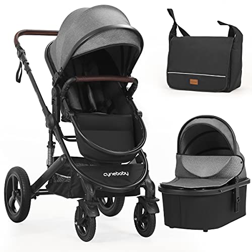 Newborn Infant Toddler Baby Stroller - Strollers with Backrest Adjustable Reversible, 2 in 1 High Landscape Convertible Bassinet Foldable Aluminum Alloy 3D Shock Absorption All Terrain Pram