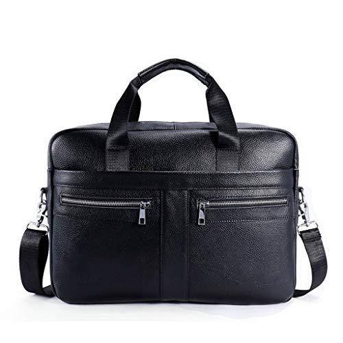 Herren Business Aktentasche, Leder Großraum-Schulter Diagonal-Paket (Color : Black, Size : M)