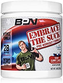 Bare Performance Nutrition, Embrace The Suck Intense Pre-Workout, Trademark Ingredients, Zero Blends, Intense Energy, Focus, Improved Concentration, Mood & Attention (28 Servings, Sour Gummy Candy)